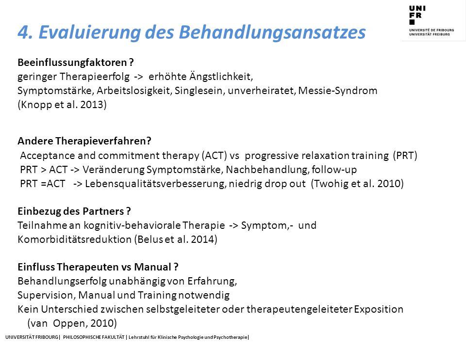 UNIVERSITÄT FRIBOURG| PHILOSOPHISCHE FAKULTÄT | Lehrstuhl für Klinische Psychologie und Psychotherapie| Beeinflussungfaktoren ? geringer Therapieerfo