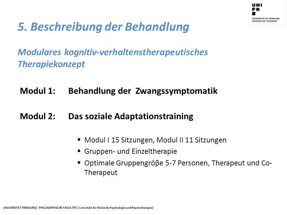 UNIVERSITÄT FRIBOURG| PHILOSOPHISCHE FAKULTÄT | Lehrstuhl für Klinische Psychologie und Psychotherapie| 5. Beschreibung der Behandlung Modulares kogn