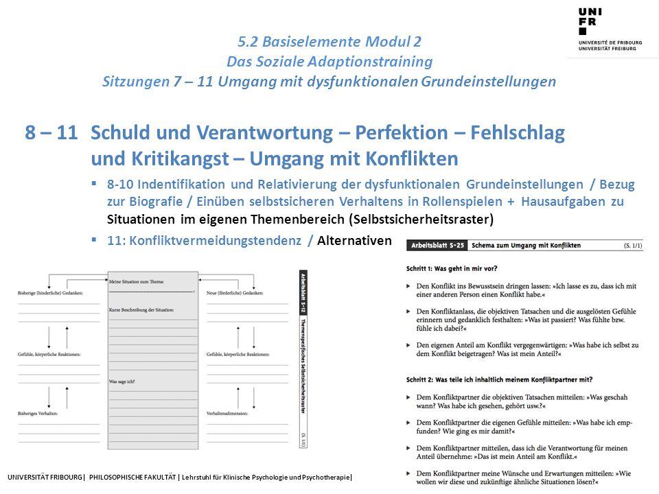 UNIVERSITÄT FRIBOURG| PHILOSOPHISCHE FAKULTÄT | Lehrstuhl für Klinische Psychologie und Psychotherapie| 5.2 Basiselemente Modul 2 Das Soziale Adaptio