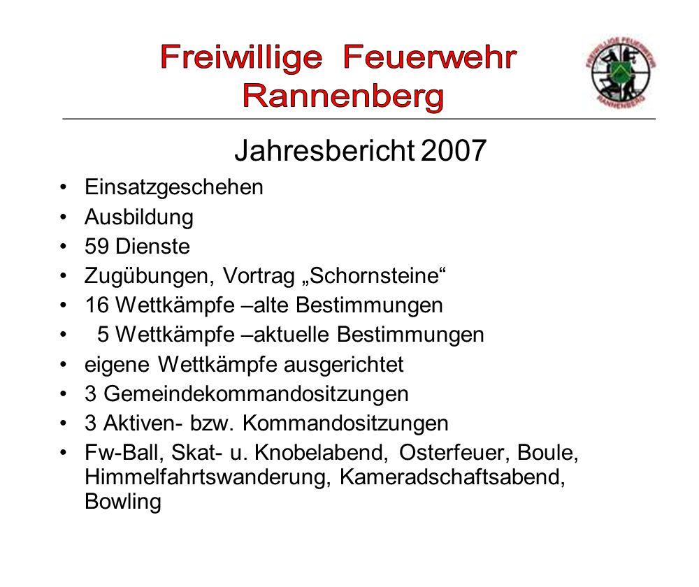 """_____________________________________________________ Jahresbericht 2007 Einsatzgeschehen Ausbildung 59 Dienste Zugübungen, Vortrag """"Schornsteine"""" 16"""