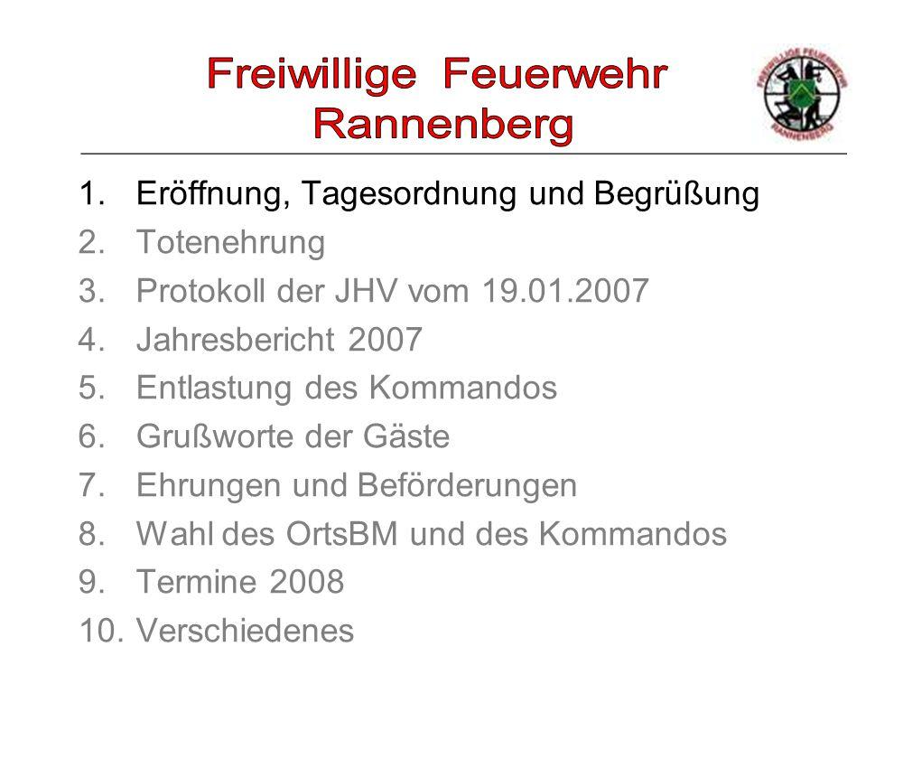 _____________________________________________________ 1.Eröffnung, Tagesordnung und Begrüßung 2.Totenehrung 3.Protokoll der JHV vom 19.01.2007 4.Jahre