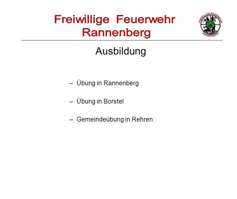_____________________________________________________ –Übung in Rannenberg –Übung in Borstel –Gemeindeübung in Rehren Ausbildung