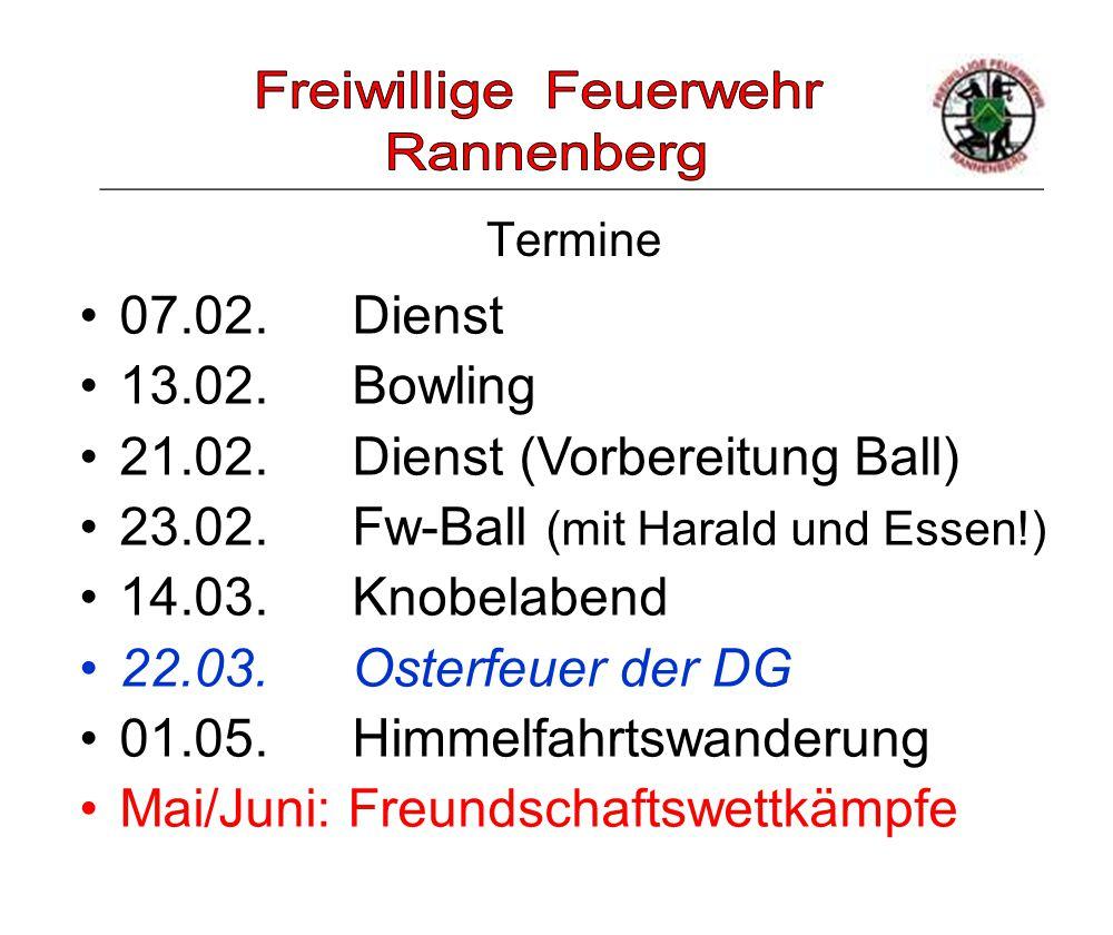 _____________________________________________________ Termine 07.02. Dienst 13.02. Bowling 21.02. Dienst (Vorbereitung Ball) 23.02. Fw-Ball (mit Haral