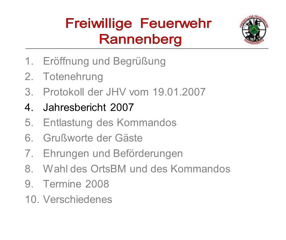 _____________________________________________________ 1.Eröffnung und Begrüßung 2.Totenehrung 3.Protokoll der JHV vom 19.01.2007 4.Jahresbericht 2007