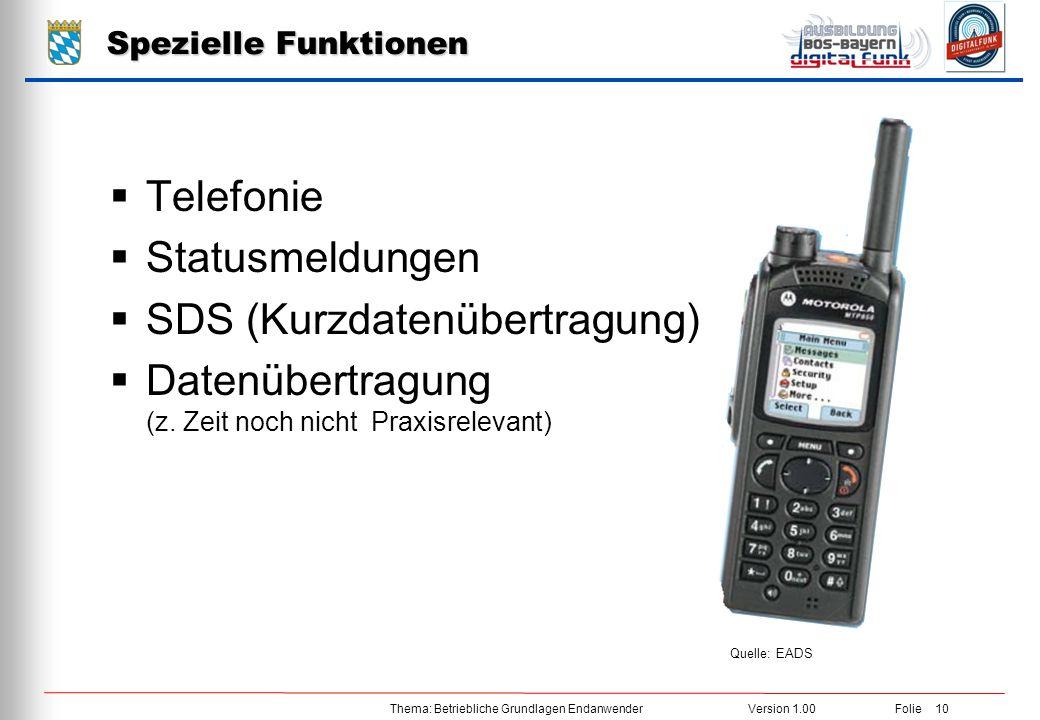 Thema: Betriebliche Grundlagen EndanwenderVersion 1.00 Folie 10 Spezielle Funktionen  Telefonie  Statusmeldungen  SDS (Kurzdatenübertragung)  Date