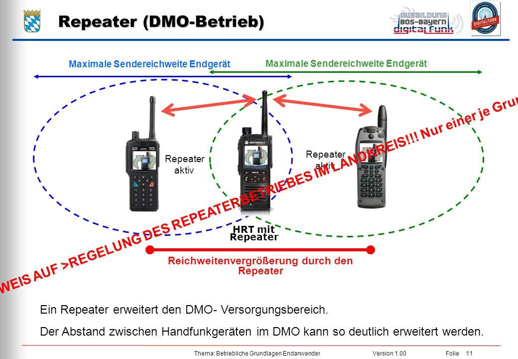 Thema: Betriebliche Grundlagen EndanwenderVersion 1.00 Folie 11 Repeater (DMO-Betrieb) Maximale Sendereichweite Endgerät Ein Repeater erweitert den DM