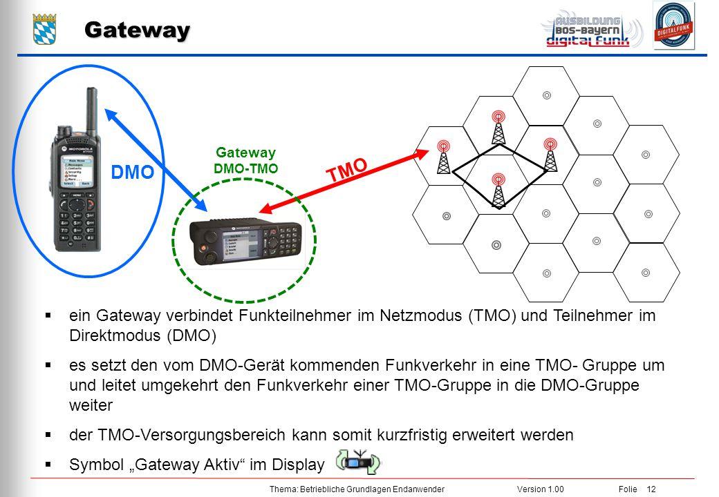 Thema: Betriebliche Grundlagen EndanwenderVersion 1.00 Folie 12 Gateway DMO Gateway DMO-TMO  ein Gateway verbindet Funkteilnehmer im Netzmodus (TMO)