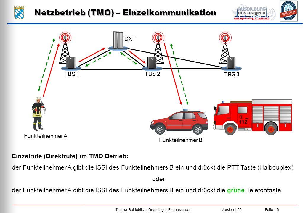Thema: Betriebliche Grundlagen EndanwenderVersion 1.00 Folie 6 Netzbetrieb (TMO) – Einzelkommunikation DXT TBS 3 TBS 2TBS 1 Einzelrufe (Direktrufe) im