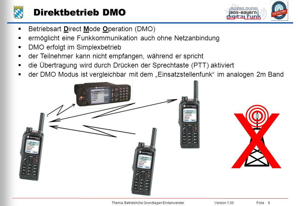 Thema: Betriebliche Grundlagen EndanwenderVersion 1.00 Folie 9 Direktbetrieb DMO  Betriebsart Direct Mode Operation (DMO)  ermöglicht eine Funkkommu