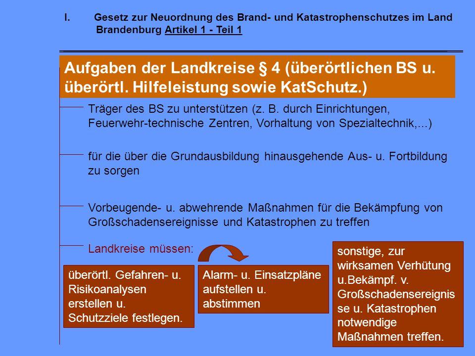 I.Gesetz zur Neuordnung des Brand- und Katastrophenschutzes im Land Brandenburg Artikel 1 - Teil 1 Aufgabenträger  Abwehr von Gefahren für die öffent