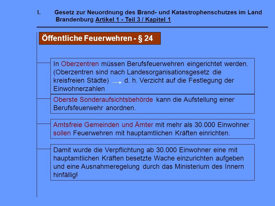 I.Gesetz zur Neuordnung des Brand- und Katastrophenschutzes im Land Brandenburg Artikel 1 - Teil 2 / Kapitel 5 Sonderaufsicht - § 22 für die amtsfreie