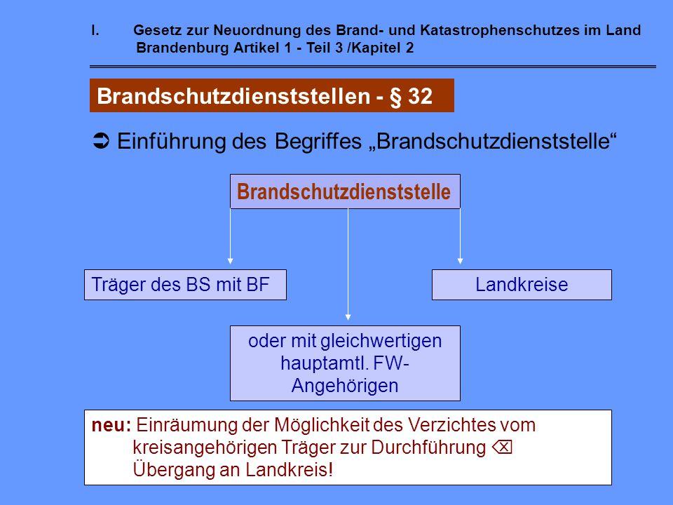 I.Gesetz zur Neuordnung des Brand- und Katastrophenschutzes im Land Brandenburg Artikel 1 - Teil 3 / Kapitel 1 Verbände der Feuerwehren - § 31  Kamer