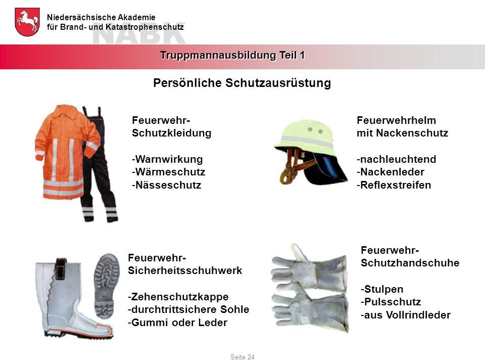 NABK Niedersächsische Akademie für Brand- und Katastrophenschutz Truppmannausbildung Teil 1 Persönliche Schutzausrüstung Feuerwehr- Schutzhandschuhe -