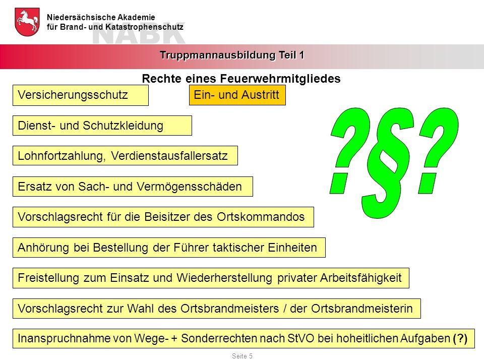 NABK Niedersächsische Akademie für Brand- und Katastrophenschutz Truppmannausbildung Teil 1 Ein- und AustrittVersicherungsschutz Lohnfortzahlung, Verd