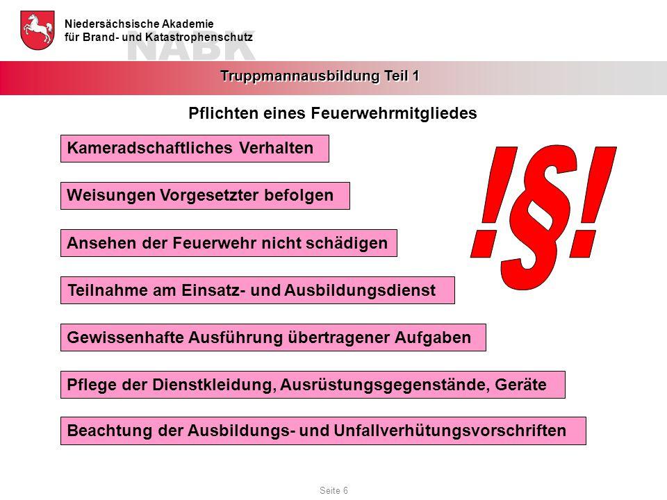 NABK Niedersächsische Akademie für Brand- und Katastrophenschutz Truppmannausbildung Teil 1 Kameradschaftliches Verhalten Weisungen Vorgesetzter befol