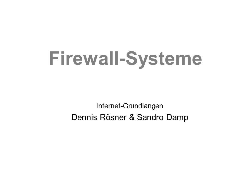 Firewall-Systeme 2.4 Angriffsarten TCP-Portscan / UDP-Portscan –Vorbereitende Aktion um Schwachstellen des Host zu entdecken Denial of Service –Host wird gezielt zum Absturz gebracht Smurf-Attack –Ausspähen von Hostinformationen Trojanische Pferde –Paket wird nicht als gefährlich eingestuft und darf passieren IP-Spoofing –Vortäuschen einer IP-Adresse Uvm.