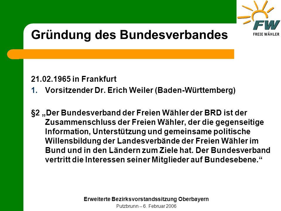 Erweiterte Bezirksvorstandssitzung Oberbayern Putzbrunn -- 6. Februar 2006 Gründung des Bundesverbandes 21.02.1965 in Frankfurt 1.Vorsitzender Dr. Eri