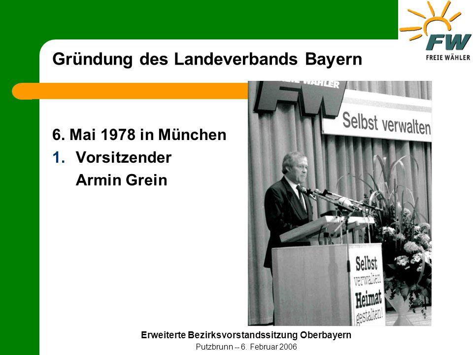 Erweiterte Bezirksvorstandssitzung Oberbayern Putzbrunn -- 6. Februar 2006 Gründung des Landeverbands Bayern 6. Mai 1978 in München 1.Vorsitzender Arm