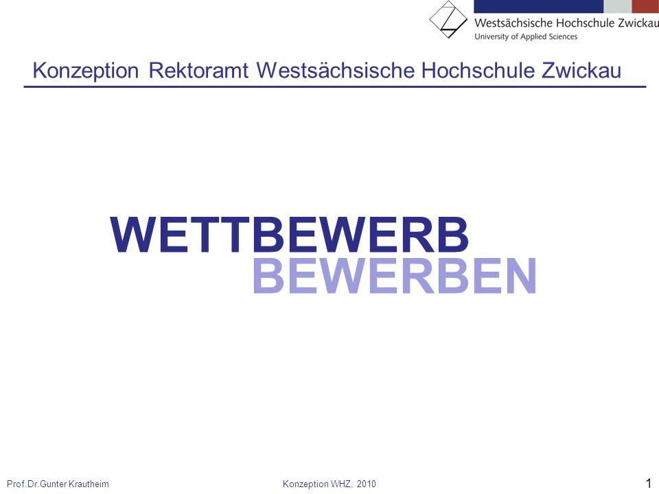 1 Prof.Dr.Gunter KrautheimKonzeption WHZ, 2010 WETTBEWERB BEWERBEN Konzeption Rektoramt Westsächsische Hochschule Zwickau