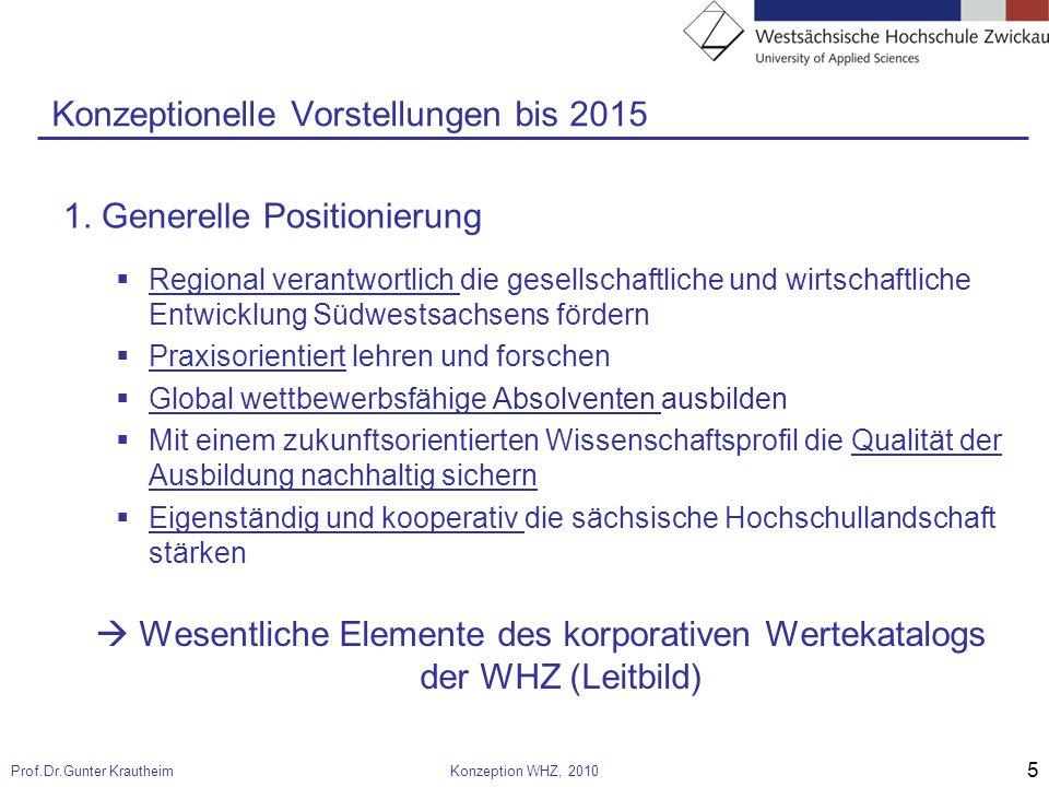 5 Prof.Dr.Gunter KrautheimKonzeption WHZ, 2010 Konzeptionelle Vorstellungen bis 2015 1.