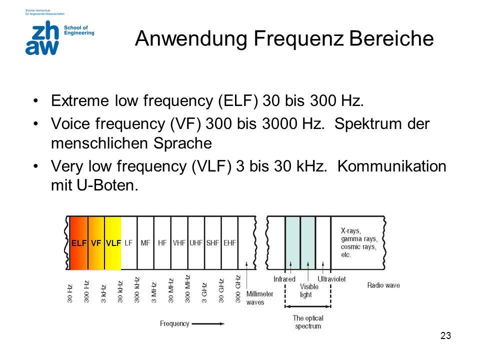 23 Anwendung Frequenz Bereiche Extreme low frequency (ELF) 30 bis 300 Hz.