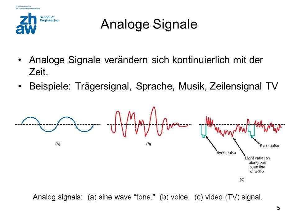 5 Analoge Signale Analoge Signale verändern sich kontinuierlich mit der Zeit.