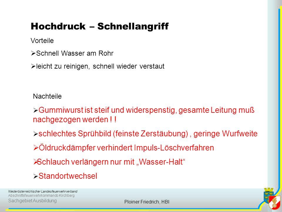 Niederösterreichischer Landesfeuerwehrverband Abschnittsfeuerwehrkommando Kirchberg Sachgebiet Ausbildung Ploiner Friedrich, HBI Hochdruck – Schnellan