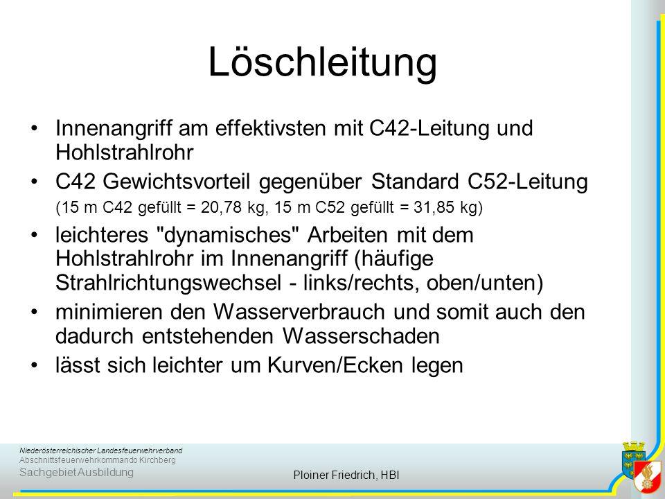 Niederösterreichischer Landesfeuerwehrverband Abschnittsfeuerwehrkommando Kirchberg Sachgebiet Ausbildung Ploiner Friedrich, HBI Löschleitung Innenang