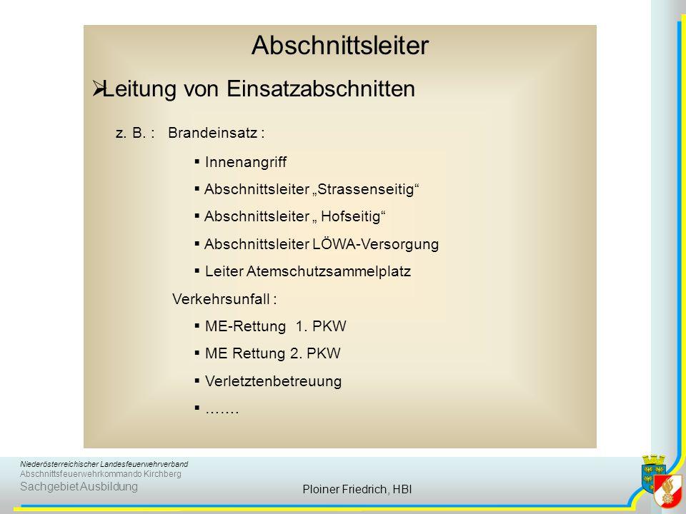 Niederösterreichischer Landesfeuerwehrverband Abschnittsfeuerwehrkommando Kirchberg Sachgebiet Ausbildung Ploiner Friedrich, HBI Abschnittsleiter  Le