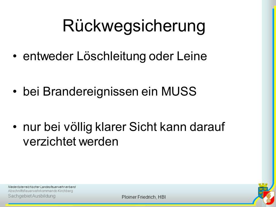 Niederösterreichischer Landesfeuerwehrverband Abschnittsfeuerwehrkommando Kirchberg Sachgebiet Ausbildung Ploiner Friedrich, HBI Rückwegsicherung entw