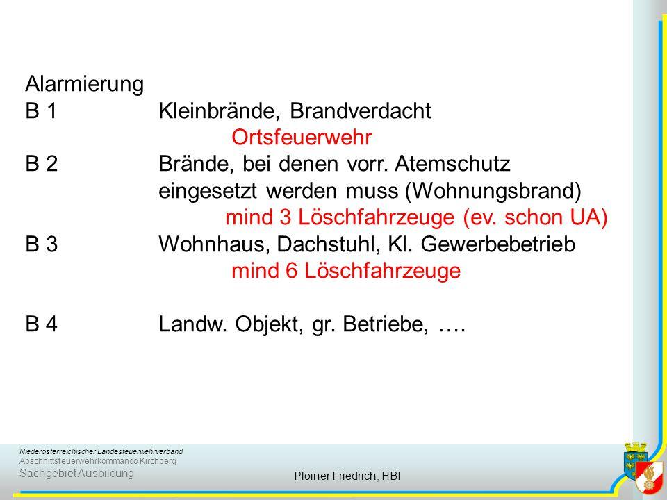 Niederösterreichischer Landesfeuerwehrverband Abschnittsfeuerwehrkommando Kirchberg Sachgebiet Ausbildung Ploiner Friedrich, HBI Alarmierung B 1Kleinb
