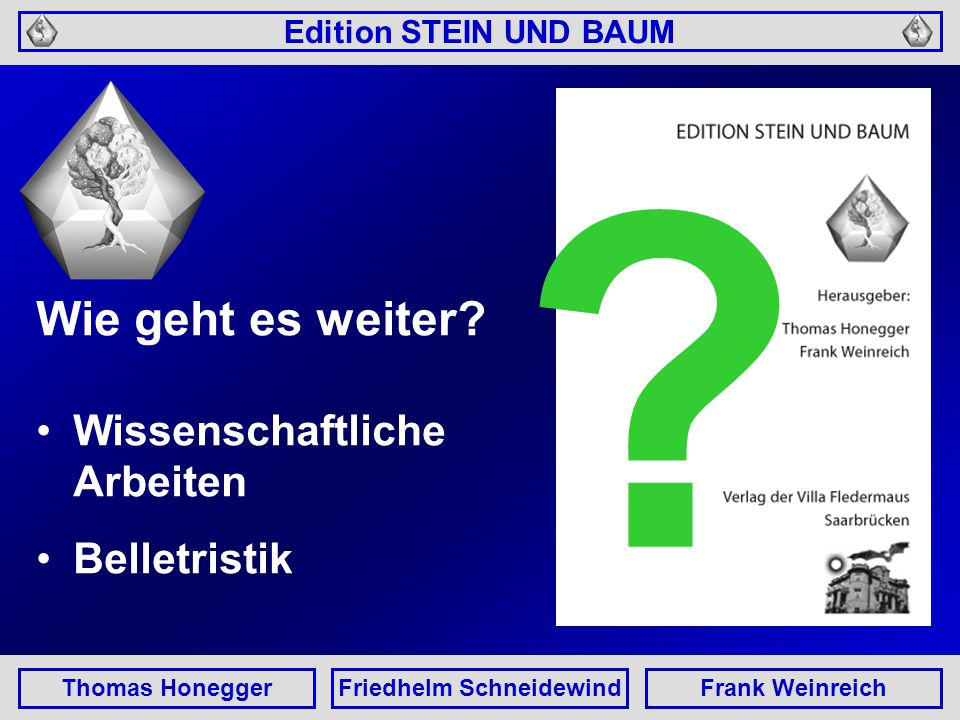 Edition STEIN UND BAUM Thomas HoneggerFriedhelm SchneidewindFrank Weinreich Wie geht es weiter.