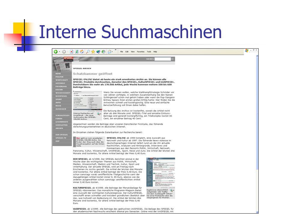 Interne Suchmaschinen
