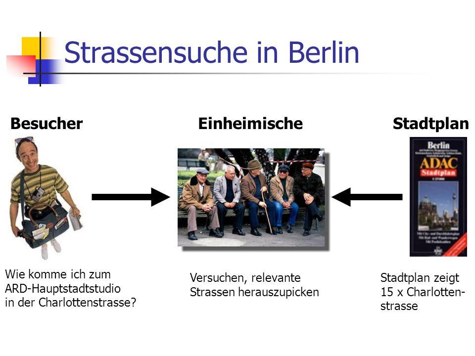 Strassensuche in Berlin Einheimische Versuchen, relevante Strassen herauszupicken Stadtplan Stadtplan zeigt 15 x Charlotten- strasse Besucher Wie komme ich zum ARD-Hauptstadtstudio in der Charlottenstrasse