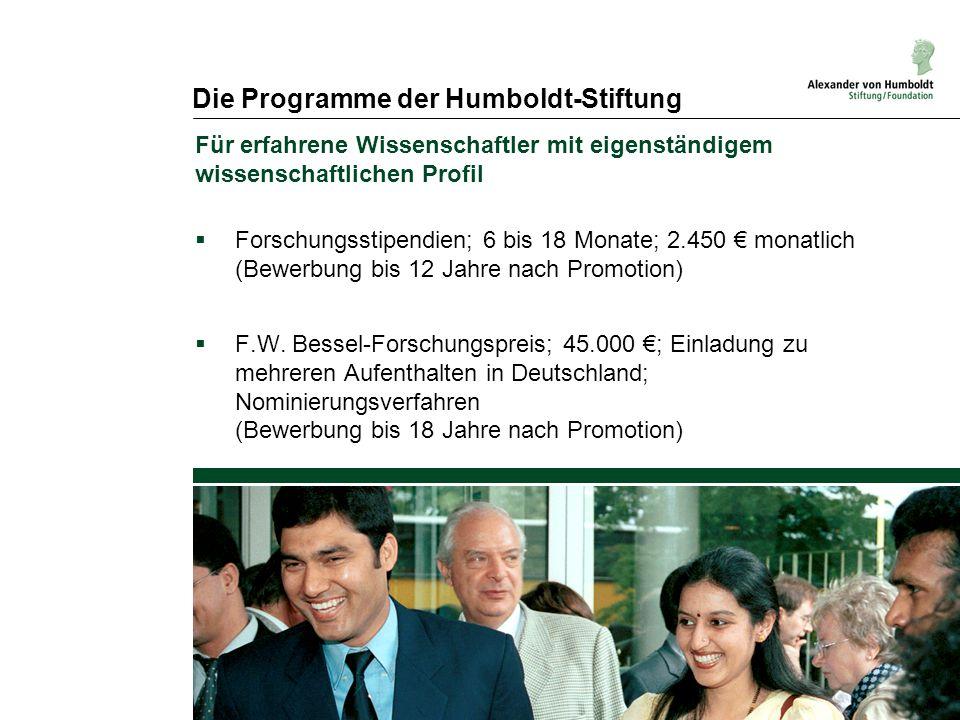 Die Programme der Humboldt-Stiftung Für erfahrene Wissenschaftler mit eigenständigem wissenschaftlichen Profil  Forschungsstipendien; 6 bis 18 Monate; 2.450 € monatlich (Bewerbung bis 12 Jahre nach Promotion)  F.W.
