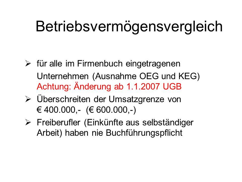 Betriebsvermögensvergleich  für alle im Firmenbuch eingetragenen Unternehmen (Ausnahme OEG und KEG) Achtung: Änderung ab 1.1.2007 UGB  Überschreiten