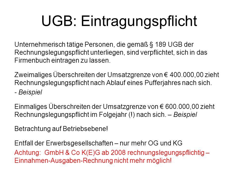 UGB: Eintragungspflicht Unternehmerisch tätige Personen, die gemäß § 189 UGB der Rechnungslegungspflicht unterliegen, sind verpflichtet, sich in das F