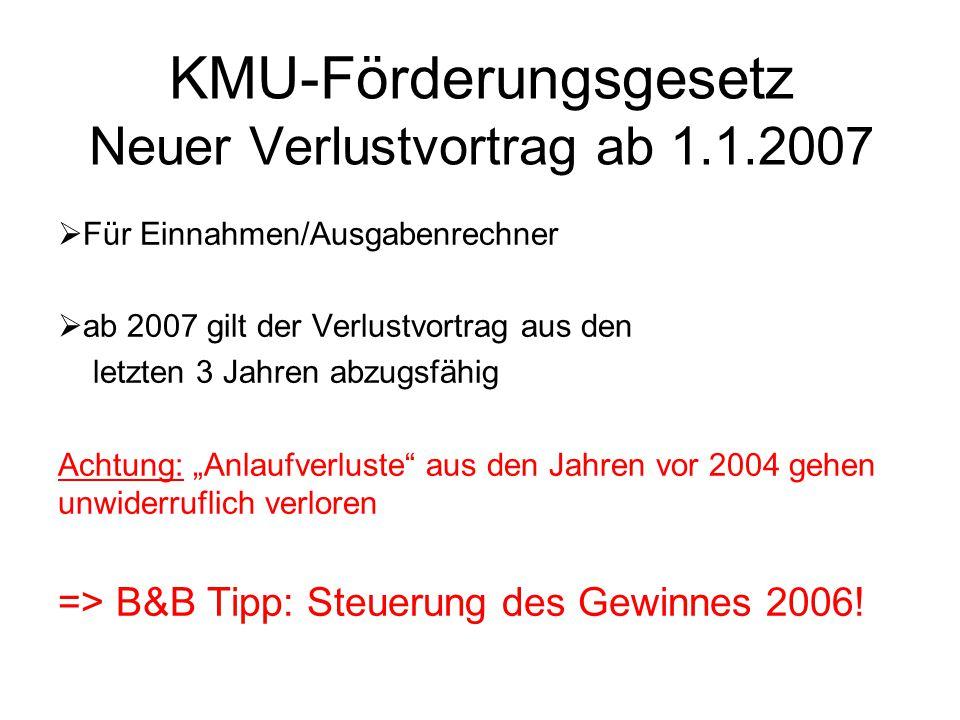 KMU-Förderungsgesetz Neuer Verlustvortrag ab 1.1.2007  Für Einnahmen/Ausgabenrechner  ab 2007 gilt der Verlustvortrag aus den letzten 3 Jahren abzug