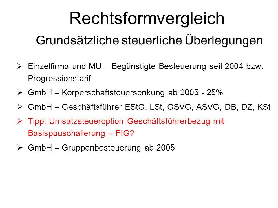 Rechtsformvergleich Grundsätzliche steuerliche Überlegungen  Einzelfirma und MU – Begünstigte Besteuerung seit 2004 bzw. Progressionstarif  GmbH – K