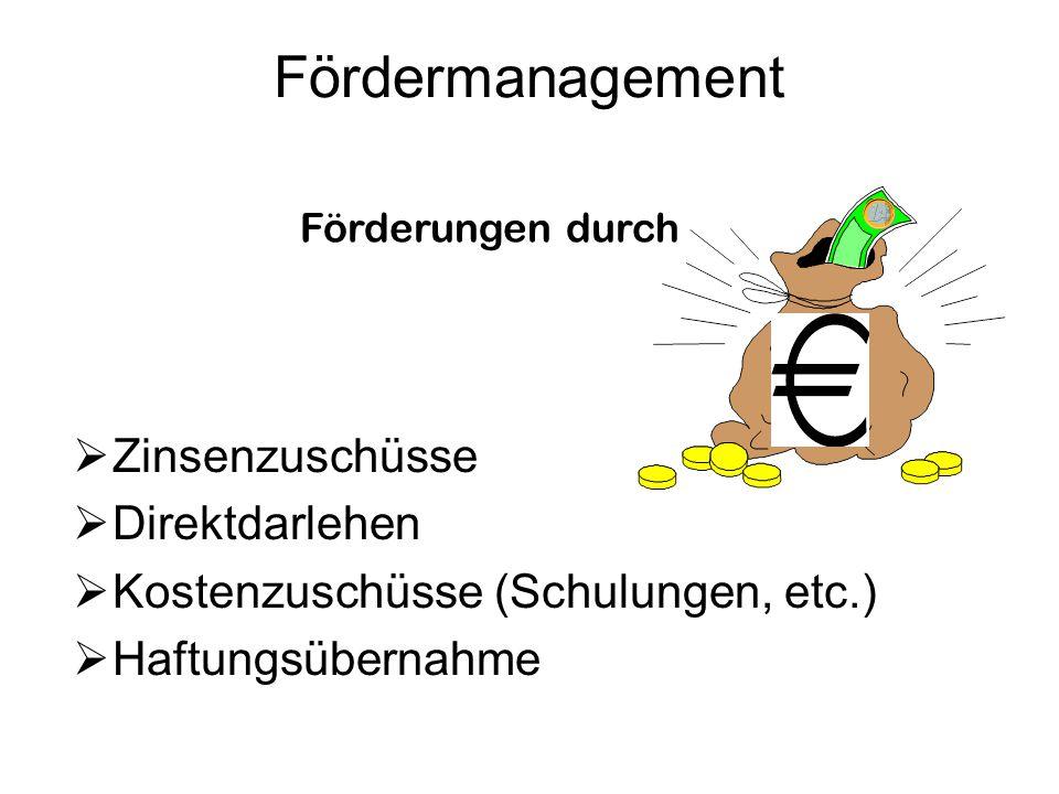 Fördermanagement  Zinsenzuschüsse  Direktdarlehen  Kostenzuschüsse (Schulungen, etc.)  Haftungsübernahme Förderungen durch