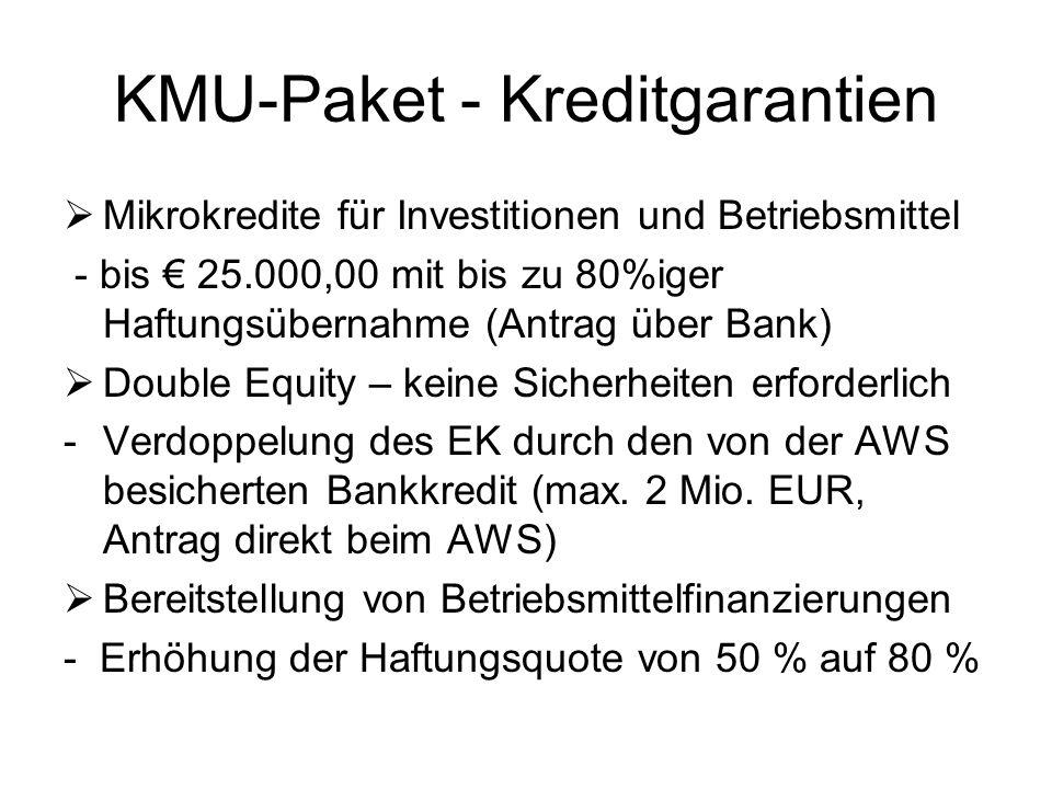 KMU-Paket - Kreditgarantien  Mikrokredite für Investitionen und Betriebsmittel - bis € 25.000,00 mit bis zu 80%iger Haftungsübernahme (Antrag über Ba