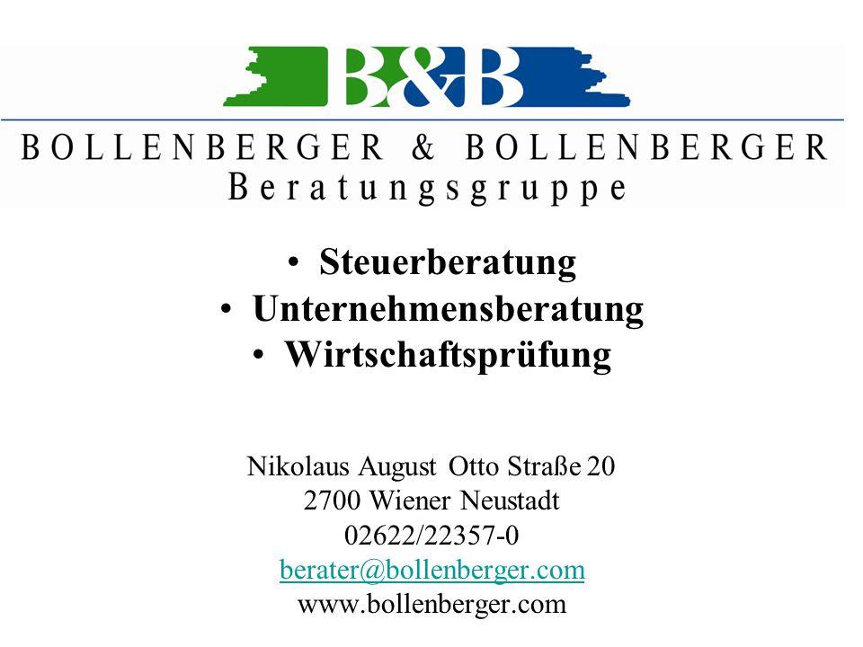 Steuerberatung Unternehmensberatung Wirtschaftsprüfung Nikolaus August Otto Straße 20 2700 Wiener Neustadt 02622/22357-0 berater@bollenberger.com www.