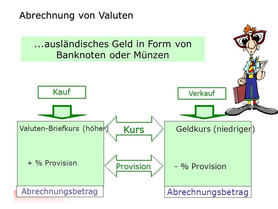RWCO - Mag. Clemens Prodinger...ausländisches Geld in Form von Banknoten oder Münzen Kauf Verkauf Valuten-Briefkurs (höher) Geldkurs (niedriger) Kurs