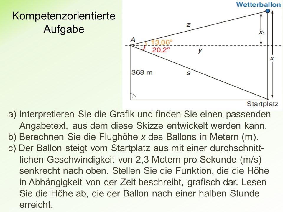 Kompetenzorientierte Aufgabe a) Interpretieren Sie die Grafik und finden Sie einen passenden Angabetext, aus dem diese Skizze entwickelt werden kann.
