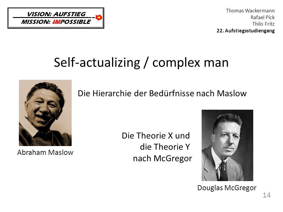 Self-actualizing / complex man VISION: AUFSTIEG MISSION: IMPOSSIBLE Thomas Wackermann Rafael Pick Thilo Fritz 22. Aufstiegsstudiengang 14 Abraham Masl