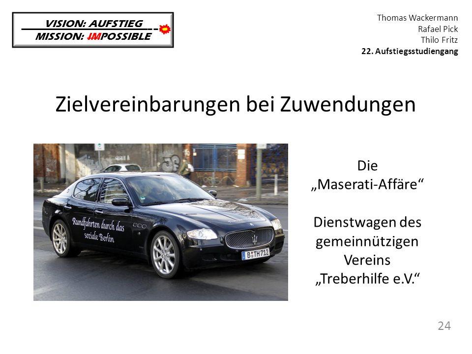 """Zielvereinbarungen bei Zuwendungen VISION: AUFSTIEG MISSION: IMPOSSIBLE Thomas Wackermann Rafael Pick Thilo Fritz 22. Aufstiegsstudiengang 24 Die """"Mas"""