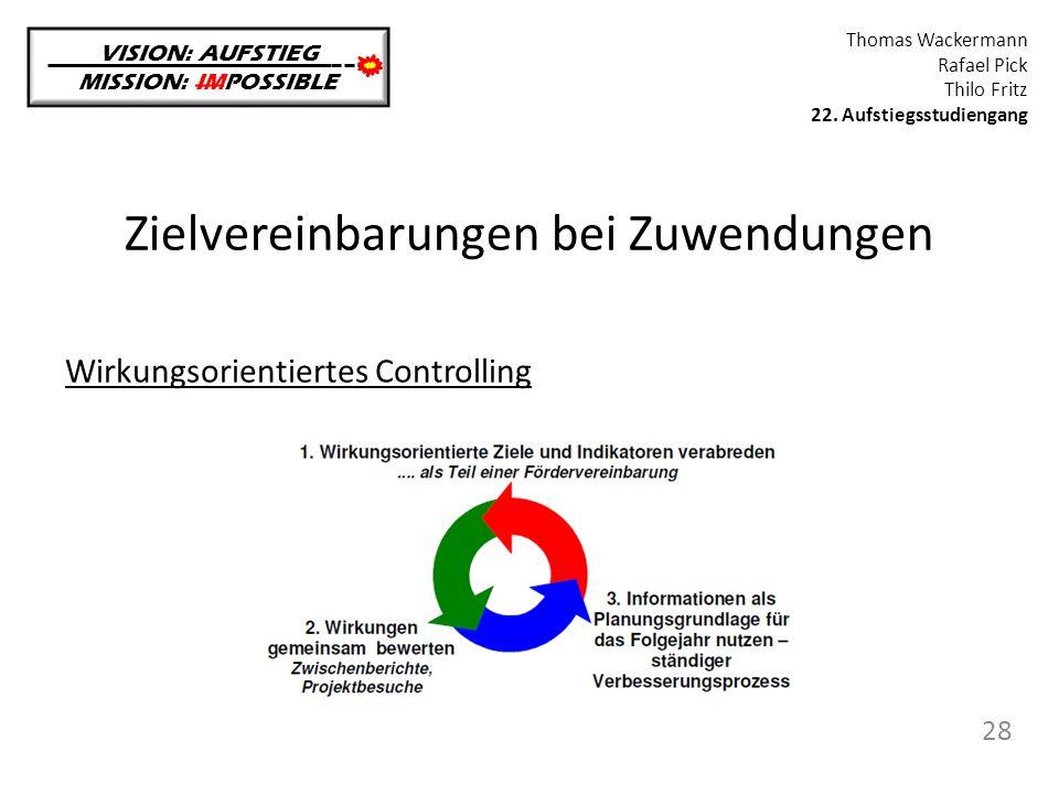 Zielvereinbarungen bei Zuwendungen VISION: AUFSTIEG MISSION: IMPOSSIBLE Thomas Wackermann Rafael Pick Thilo Fritz 22. Aufstiegsstudiengang 28 Wirkungs
