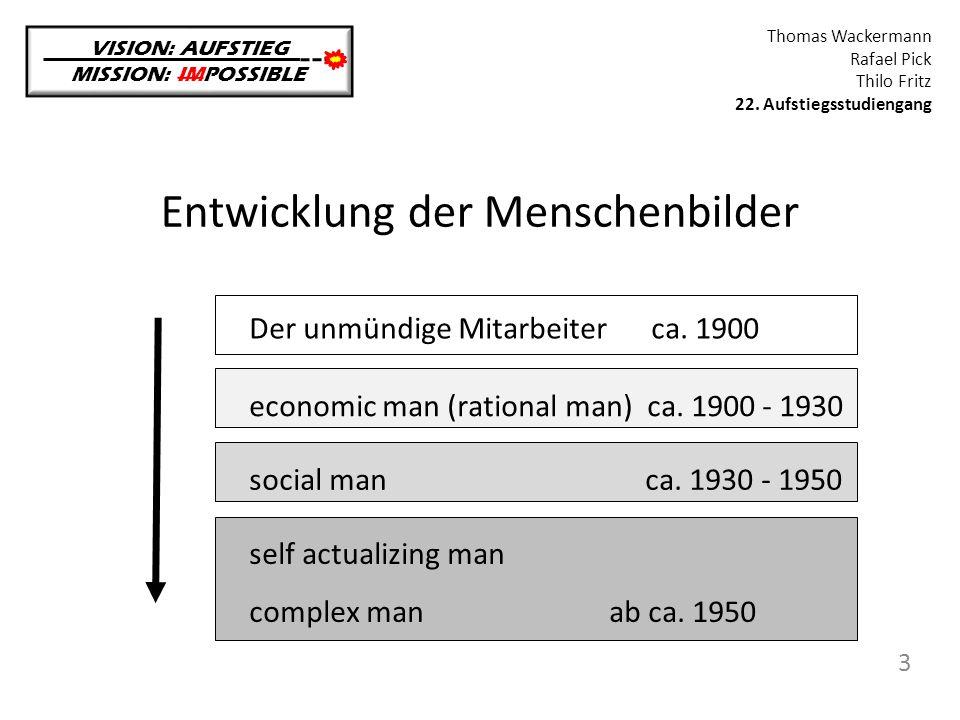 Self-actualizing / complex man VISION: AUFSTIEG MISSION: IMPOSSIBLE Thomas Wackermann Rafael Pick Thilo Fritz 22.