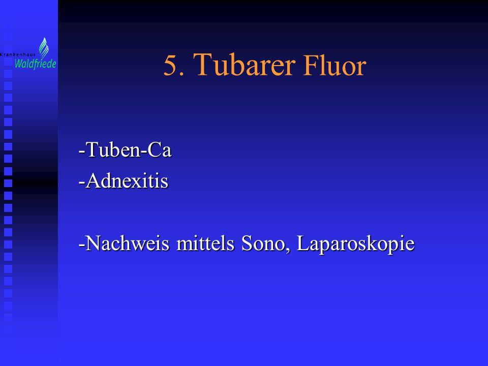 5. Tubarer Fluor -Tuben-Ca-Adnexitis -Nachweis mittels Sono, Laparoskopie