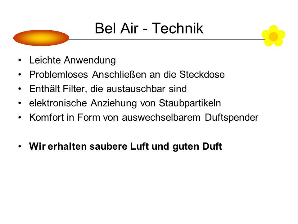 Bel Air - Technik Leichte Anwendung Problemloses Anschließen an die Steckdose Enthält Filter, die austauschbar sind elektronische Anziehung von Staubpartikeln Komfort in Form von auswechselbarem Duftspender Wir erhalten saubere Luft und guten Duft